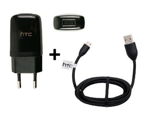 Original HTC Ladekabel TC-E250 + DC-M410 in Schwarz für Desire 500 Datenkabel Netzteil 1000 mAh Schnellladegerät Ladegerät Aufladekabel Travel Charger MicroUSB