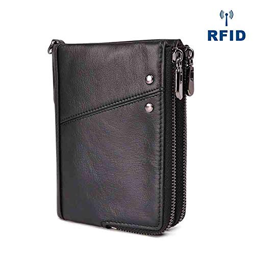 c443b32e41 Mens Real Soft Leather Wallet Vintage RFID Blocking Credit Card Slots  Holder Bifold Purse with 2