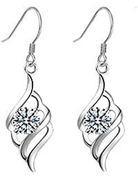 Joyfulshine Drop Earrings Dangle Women Jewellery 925 Sterling Silver Round Cubic Zirconia Hooks for Ladies