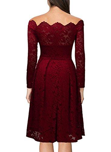 Miusol Damen Vintage 1950er Off Schulter Cocktailkleid Retro Spitzen Schwingen Pinup Rockabilly Kleid Rot Gr.3XL -