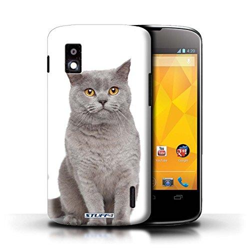Kobalt® Imprimé Etui / Coque pour LG Nexus 4/E960 / Sibérien conception / Série Espèces de chats Bleu britannique