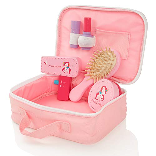 Milly & Ted Wooden Beauty Case Playset - Girls Pretend Play Cosmetic Set