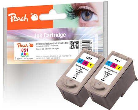 Peach Doppelpack Druckköpfe color kompatibel zu Canon CL-51 - Pixma 6320