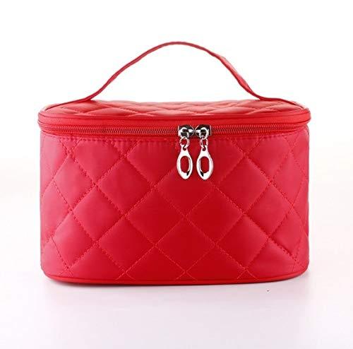 Boîte à maquillage, sac cosmétique portable carré carré rhombique simple, trousse à maquillage portative de voyage, boîte de rangement pour bijoux ongles beauté (Color : Red)