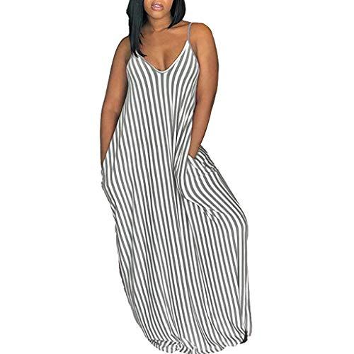AZZRA Frauen Striped Print tiefem V-Ausschnitt Sommer Strap Halter Beach Party langes Kleid Damen elegant ärmellos Rundhals Vintage Spitzenkleid Hochzeit Chiffon Faltenrock langes Kleid - Rüschen Tiefem Ausschnitt-kleid