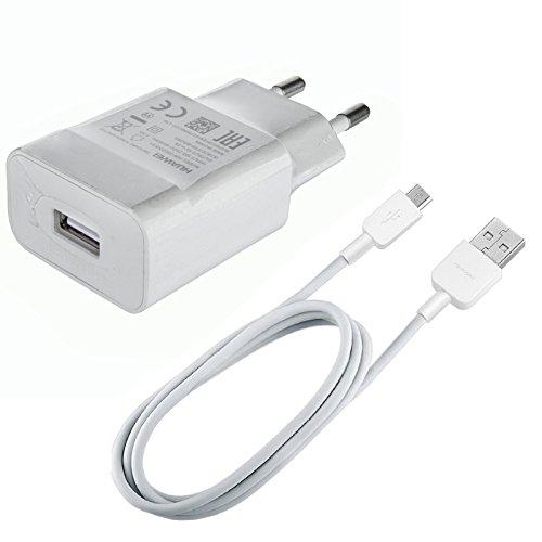 Smart Ladekabel (Original Huawei HW-050200E01 + Datenkabel in Weiß Weiss für P smart 2.0 USB Datenkabel Netzteil 2A Ampere 2000 mAh Ladegerät Ladekabel MicroUSB Bulk verpackt + gratis Bildschirm Reinigungspad)