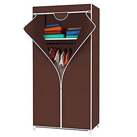 Portable Foldable One Single Shelf Clothes Closet Wardrobe Non-woven Fabric Multipurpose Storage Organizer Cupboard Brown Almirah By Krishyam  available at amazon for Rs.1199