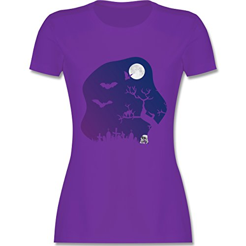Halloween - Friedhof gruselig Totenkopf Mond - XL - Lila - L191 - Damen Tshirt und Frauen T-Shirt (Men's Night Elf Kostüm)