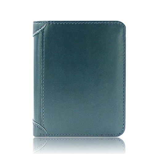 Lidaway 100% authentique première couche portefeuilles en cuir pour hommes, élégant de bonne qualité (Bleu)