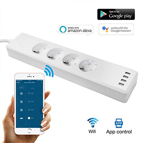 JYL WiFi Smart Plugs, Protector Power Strip mit USB-Anschlüssen, WiFi Wireless Voice Remote Control und Timing-Funktion 4-Outlet 4-USB-Anschluss, kompatibler Alexa Google Assistant -