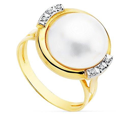 Sortija oro 18k bicolor perla japonesa cultivada 14mm. [AB8952]