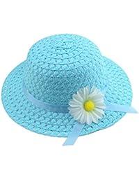 Gespout Sombrero de Paja Para Niñas Chica Material Natural Elegante Protección Solar Viaje Playa sol Verano Pescar Senderismo Campamento de Verano Flor del Sol Patrón 1pcs Azul