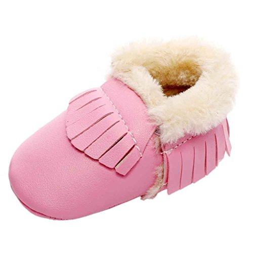 Baby Mädchen / Jungen Lauflernschuhe-Omiky® 0-18 Month Mädchen / Jungen Baumwolle Winter Baby Girl boys Kinder Schuhe Warme Schuhe Leder Rosa