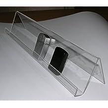 Espositore da vetrina per accendini tipo Zippo. In acrilico trasparente lunghezza cm. 40.