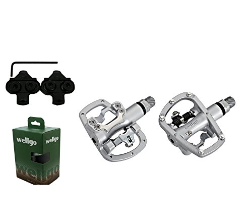 Pedale AUTOMATICOS gemischte SPD MTB Aluminium Wellgo R120B + Buchten 3618
