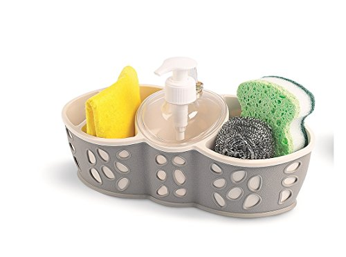 Sponge Bursh Holder Refillable Soap Dispenser Bath Kitchen Sink Tidy In 3 Colors (Caddy-01)
