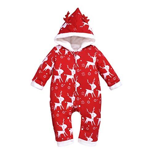 Comie Kinder Winter Onesies, Neugeborene Säuglingsbaby Mädchen Lange Hülsen Overall Rotwild Weihnachts Karikatur Kleidung, Schneeanzüge Warm Strampler Outfits