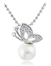 Silver Shoppee Free Spirit Rhodium Plated Cubic Zirconia And Pearl Studded Alloy Pendant For Girls And Women