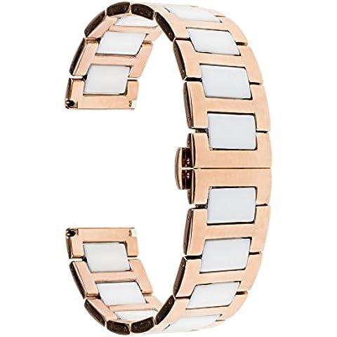 TRUMiRR 20 millimetri in ceramica Watch Band Strap Tutti i link rimovibile per Samsung Gear (Nel Corso Di Ceramica)