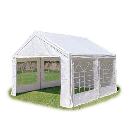 TOOLPORT Tente de réception 3x3 m, Toile de Haute qualité 240g/m² PE Blanc Construction en Acier galvanisé avec raccordement par vissage