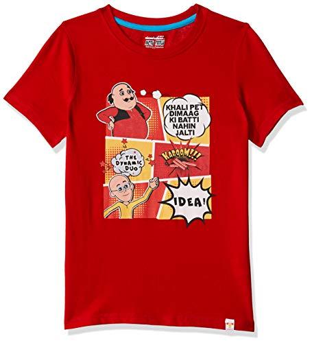 Motu Patlu Boys' Plain Regular Fit T-Shirt (MPPBSL0191_Mars Red_4-5 Years)