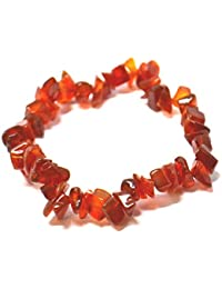 Carnelian Quality Crystal Chip Elasticated Bracelet For: Creativity, Courage