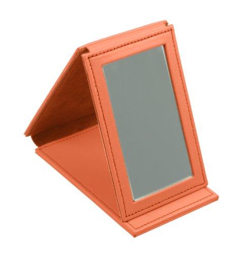 Lucrin Trousse à Maquillage Miroir Rectangulaire de Poche Cuir Vachette Lisse 11 cm Orange PM1095_VCLS_ORG