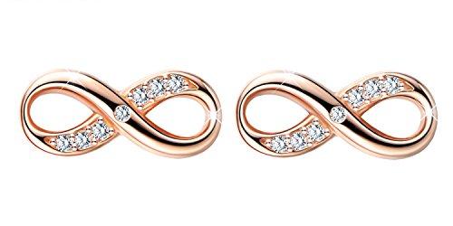 Unendlich U Modisch Unendlichkeit Zeichen Infinity Ohrstecker 925 Sterling Silber Zirkonia Damen Ohrringe Ohrschmuck