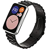 Dado Replacement Stainless steel Band compatible with Huawei Fit Watch, 3 beads stainless steel strap (Black)
