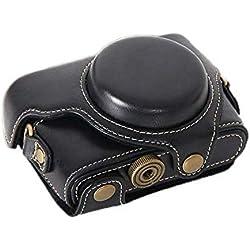 PDXD-share Étui de protection en cuir PU-caméra, Sac pour Sony DSC-RX100 RX100 II M2 M3 M4 Cybershot Compact numérique (Noir)