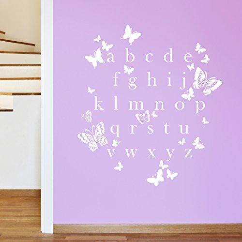 Papillon lettres de l'alphabet Filles ABC Sticker mural en vinyle pour enfants – Stickers, facile à appliquer, sans Applicateur, faciles à décoller – (veuillez choisir votre taille et couleur à l'aide de la Sélection Boîtes) – par Rubybloom Designs, blanc, Medium - 81cm x 90cm