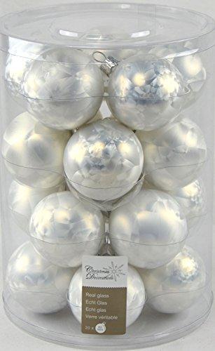 Christbaum Kugel Set Echt Glas, 20 teilig, weiß Eislack Optik, Weihnachtsbaum, Winterdeko