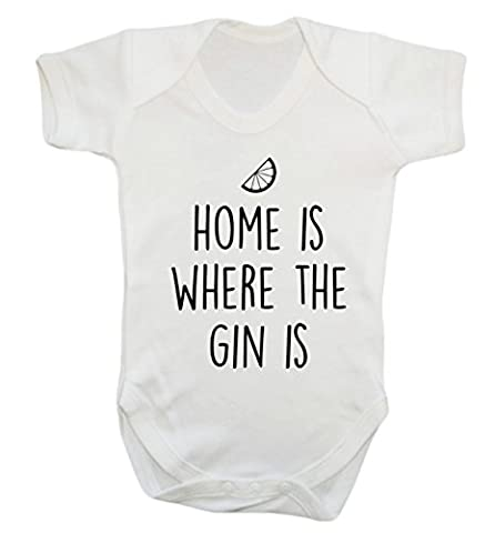 Home is where the gin is baby vest bodysuit babygrow
