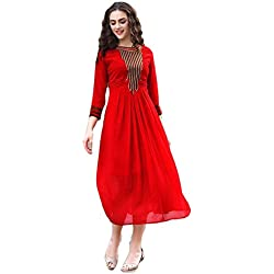 Kurti (Women's Clothing Kurti For Women Latest Designer Wear Kurti Collection In Latest Kurti Beautiful Bollywood Kurti For Women Party Wear Offer Designer Kurti) (Red)