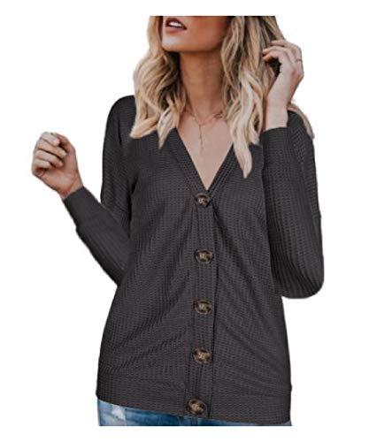 CuteRose Womens Cardigan Long-Sleeve Single-Breasted V Neck Casual T-Shirt Gray XS -