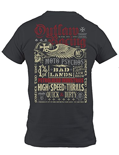 Baddery Petrolhead Industries: Outlaw Racing - Motocicletta - T-Shirt per Motociclisti Maglietta del Motociclo