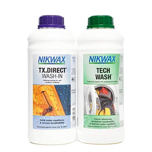 Nikwax Tech Wash and TX. Direct Wash-In Doppelpackung - Durchsichtig, 2 x 1 Liter (Teile Wasserenthärter)