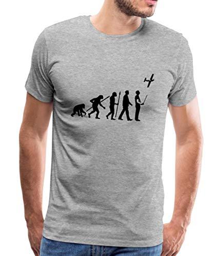 Spreadshirt Evolution Modellflug Männer Premium T-Shirt, 3XL, Grau meliert -