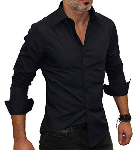 Redbridge Herren Freizeit-Hemd, Einfarbig Schwarz - Schwarz