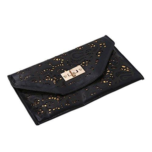 TOOGOO(R) La nuova catena del sacchetto del messaggero della serratura della frizione di giorno di annata dell'annata della borsa della busta di vendita calda di vendita calza-albicocca Nero