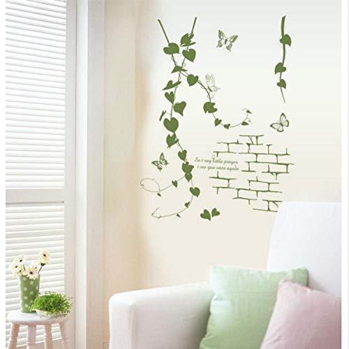 Rattan-peel (Asade Delicate Parlor Art Korean Modern Living Room Green Rattan Vines Butterfly Decorative Wall Sticker Simple Aesthetic Decor)