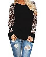 ZANZEA Women's Sexy Casual Long Sleeve Chiffon Round Neck Leopard Print Tops Blouse T-Shirt