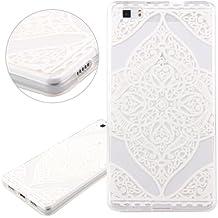 Funda para Huawei P8 Lite, Case Cover para Huawei P8 Lite, ISAKEN Transparente Ultra Slim Carcasa de Silicona TPU con Blanco Diseño Resistente a Arañazos Trasera Bumper Protección Case Cover Funda Cascara para Huawei P8 Lite (Flor N14)