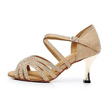 Silence @ latine Sandales pour femme Flocage Stiletto Talon Chaussures de danse Doré doré
