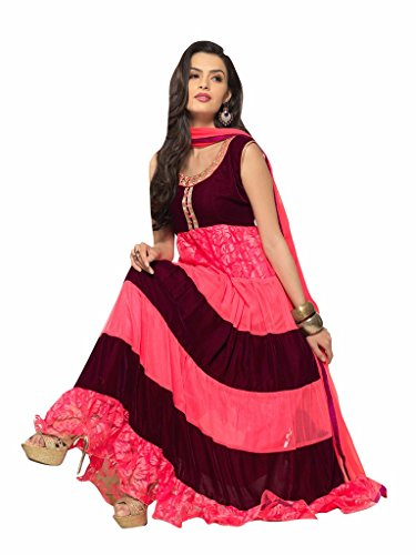 Trendz Apparels Pink and Maroon Net Brasso and Velvet Anarkali Suit Salwar Suit  available at amazon for Rs.844
