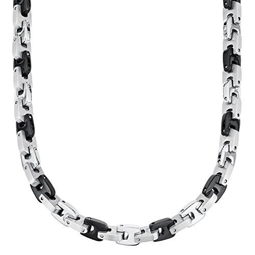 S.Oliver Herren Kette Männerkette Edelstahl IP 48+2,5 cm schwarz bicolor
