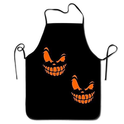 gatetop Kunst Halloween Kürbis Gesicht langlebig einstellbar waschbar Küche Overlock Schürzen Mutter Geschenk Kochen Backen Restaurant Unisex
