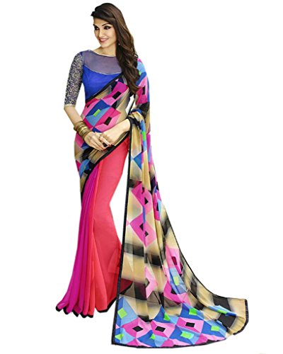 Vedant Women's Georgette Saree With Blouse Piece (Pink)