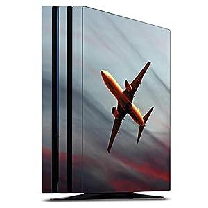 DeinDesign Skin kompatibel mit Sony Playstation 4 PS4 Pro Folie Sticker Flugzeug Himmel Sonnenuntergang