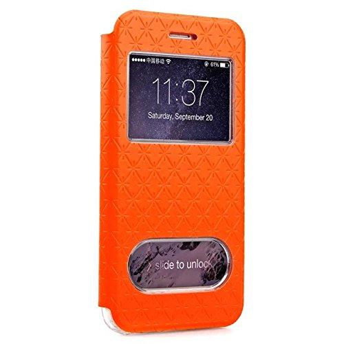 iPhone Case Cover Quadrat-Diamant-Gitter-Muster PU-lederner Fenster-Fall-weicher TPU Abdeckungs-Standplatz-Fall mit Karten-Schlitz für IPhone 6 6s Plus ( Color : Purple , Size : Iphone 6S Plus ) Orange